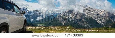 travel on the car.famous Italian National Park Tre Cime di Lavaredo. Dolomites, South Tyrol.  Auronzo