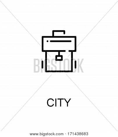 City icon. Single high quality outline symbol for web design or mobile app. Thin line sign for design logo. Black outline pictogram on white background