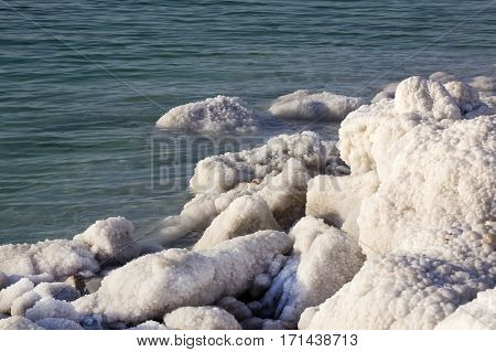 Dead Sea salt deposits stones white crystals