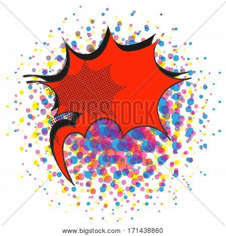 Red explosive comic pop art speech bubble stock vector