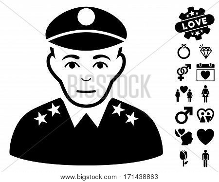 Army General pictograph with bonus passion pictures. Vector illustration style is flat iconic black symbols on white background.