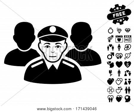 Army Team icon with bonus dating pictograph collection. Vector illustration style is flat iconic black symbols on white background.
