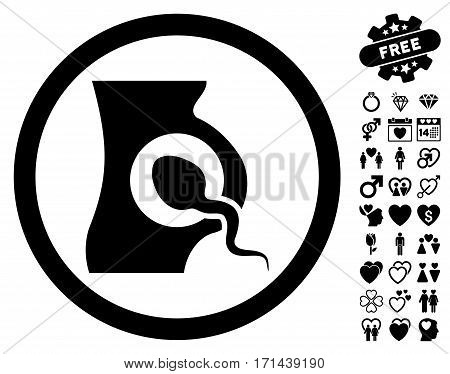 Artificial Insemination icon with bonus marriage graphic icons. Vector illustration style is flat iconic black symbols on white background.