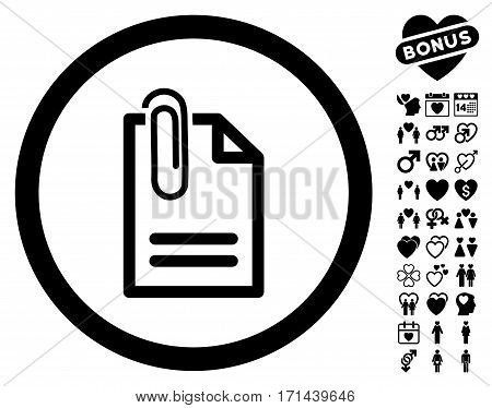 Attach Document pictograph with bonus romantic graphic icons. Vector illustration style is flat iconic black symbols on white background.