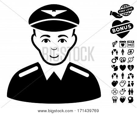 Aviator icon with bonus passion pictograph collection. Vector illustration style is flat iconic black symbols on white background.
