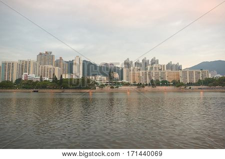 HONG KONG - CIRCA NOVEMBER, 2015: Hong Kong urban landscape in the morning. Hong Kong is an autonomous territory on the Pearl River Delta of East Asia.