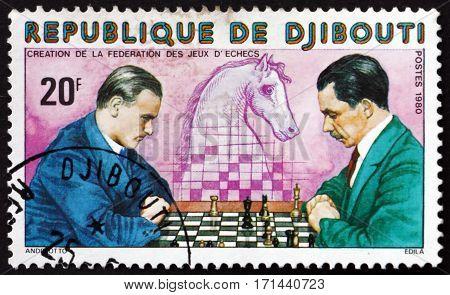 DJIBOUTI - CIRCA 1980: a stamp printed in the Djibouti shows Chess players knight circa 1980
