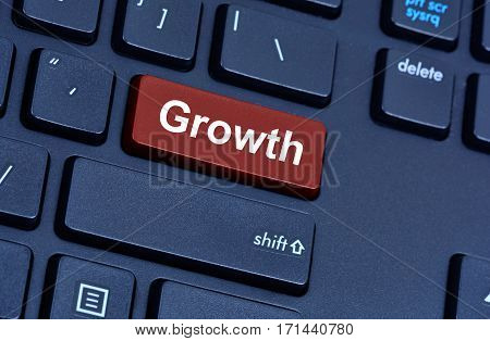 Growth word on computer keyboard button closeup