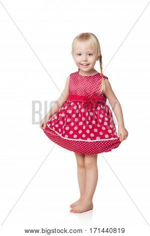 smiling little girl in red dress isolated on white background