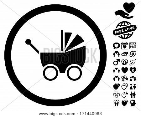 Baby Carriage icon with bonus dating pictograms. Vector illustration style is flat iconic black symbols on white background.