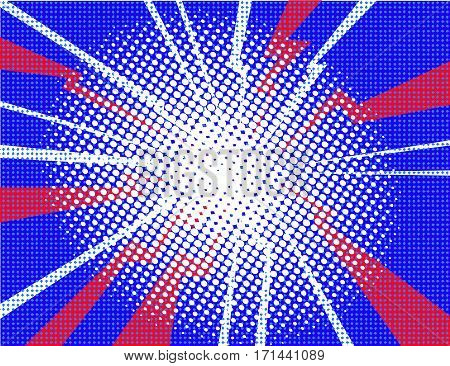 Pop art comic halftone electrical background with rays vector