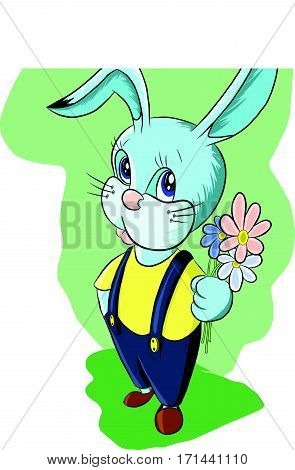 funny leveret holds a bouquet of flowers, illustration