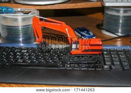 Model excavator toy hydraulic crawler. July 2007