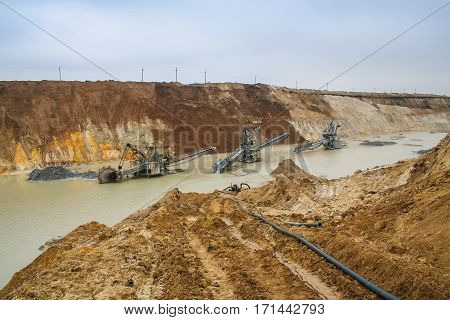 Clay quarry after the flood near the town of Pology in the Zaporizhya region of Ukraine. March 2006