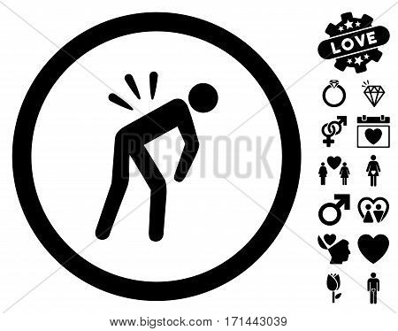 Backache pictograph with bonus love graphic icons. Vector illustration style is flat iconic black symbols on white background.