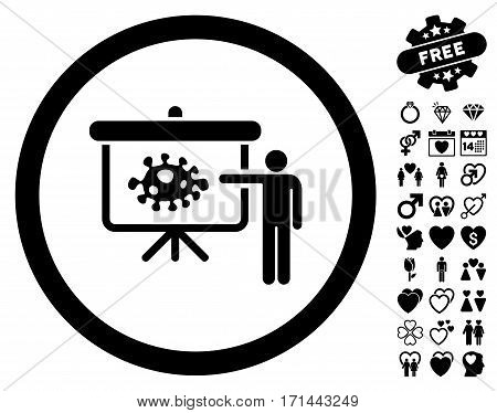 Bacteria Lecture icon with bonus lovely pictograms. Vector illustration style is flat iconic black symbols on white background.