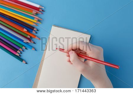 Female Hand Ready To Writhe Phrase In Notebook