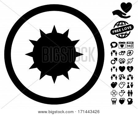 Bacterium icon with bonus romantic pictograms. Vector illustration style is flat iconic black symbols on white background.