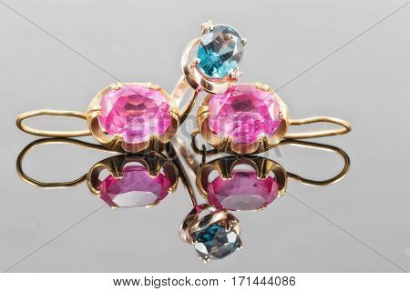 Gold Ring With Topaz Color London Blue And Earrings With Large Rubies