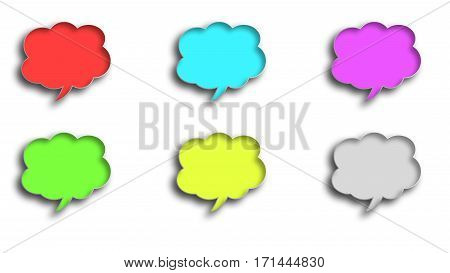 six 3D balloon dialogue clouds in different colors on a white background