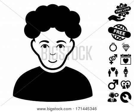 Brunet Man pictograph with bonus romantic pictograph collection. Vector illustration style is flat iconic black symbols on white background.