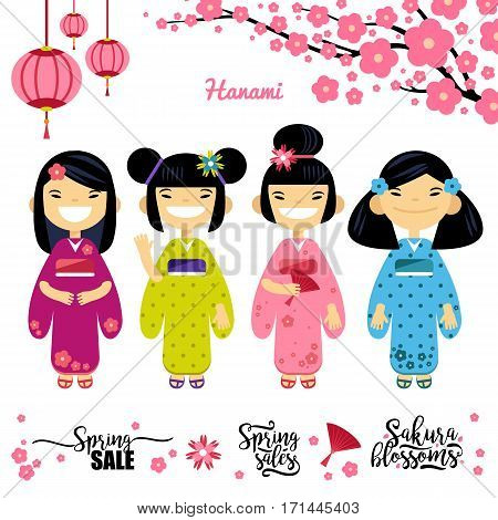 set of four Asian girl, Sakura, spring discounts. Elements for hanami festival, sakura blossom season. Vector illustration flat design.