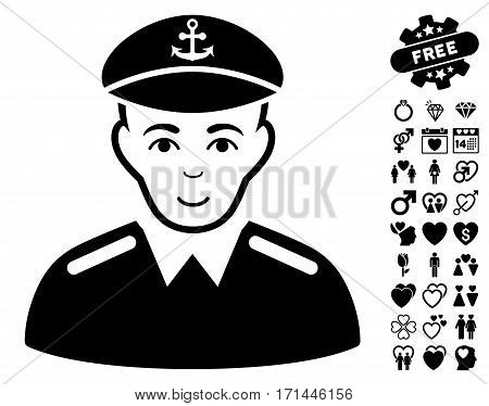 Captain icon with bonus romantic pictures. Vector illustration style is flat iconic black symbols on white background.