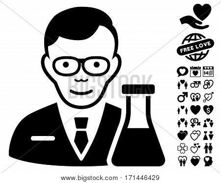 Chemist icon with bonus marriage icon set. Vector illustration style is flat iconic black symbols on white background.