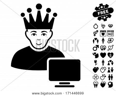 Computer Moderator icon with bonus decoration symbols. Vector illustration style is flat iconic black symbols on white background.