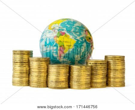Metal Coins And Globe Isolated On White Background.