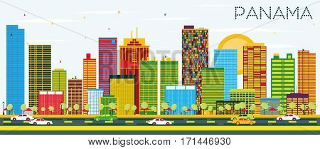 Panama Skyline with Color Buildings and Blue Sky. Business Travel and Tourism Concept. Image for Presentation Banner Placard and Web Site.