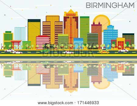 Birmingham Skyline with Color Buildings, Blue Sky and Reflections. Business Travel and Tourism Concept. Image for Presentation Banner Placard and Web Site.