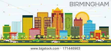 Birmingham Skyline with Color Buildings and Blue Sky. Business Travel and Tourism Concept. Image for Presentation Banner Placard and Web Site.