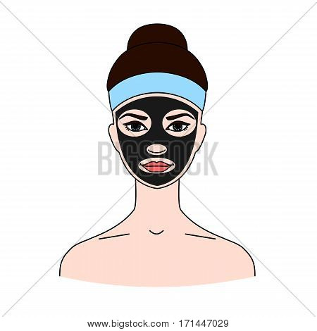 Black cosmetic mask on a woman's face. The concept of beauty treatments skin care and cleansing. Isolated on white background.