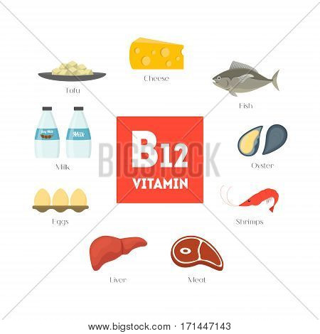 Cartoon Food with Vitamin B12 Infographics Concept Healthy Nutrition or Diet Flat Design Style. Vector illustration