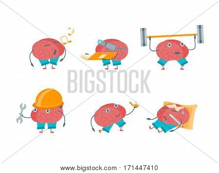 Cartoon Brain Activities Set Exercise Education for Intellect Flat Design Style Element Web. Vector illustration