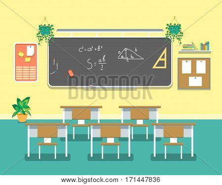 Cartoon Classroom Design Interior for School, College and University Flat Design Style. Vector illustration