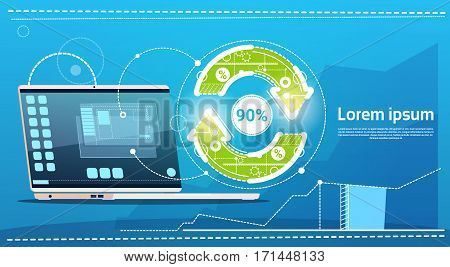Laptop Computer Update Arrow Finance Success Concept Flat Vector Illustration