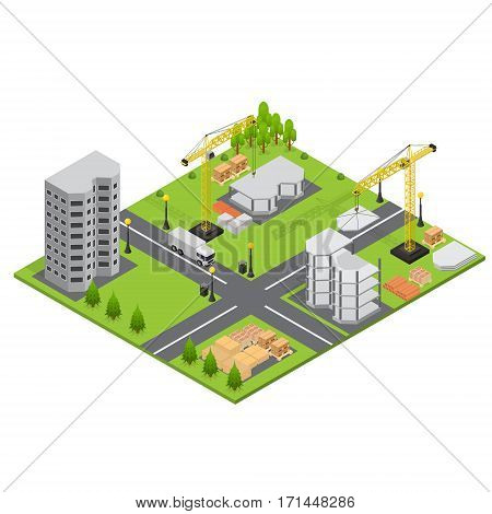Construction Building Quarter of City Isometric View Landscape with Trees and House. Vector illustration