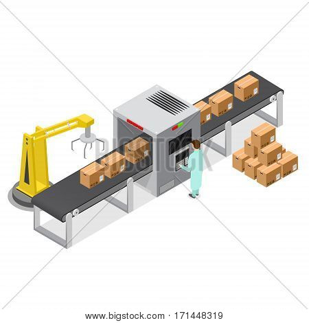 Factory Conveyor System Belt with Cardboard Boxes Engineering Machine Line Isometric View. Vector illustration