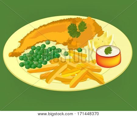 Fish, chips and peas on a yellow plate, vector