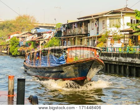 Ferryboat public motorboat on small channel called khlong is used in Bangkok as a transport way. Bangkok, Thailand