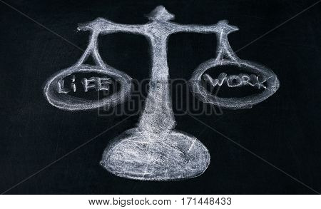 Work life concept on balance scale drawn on blackboard chalk board