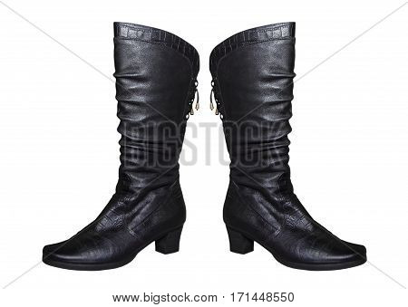 Pair of Women black knee-high boot isolated on white background.