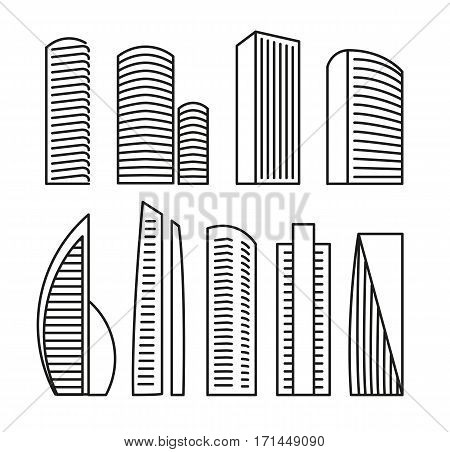 Isolated black and white color skyscrapers in lineart style icons collection, elements of urban architectural buildings vector illustrations set