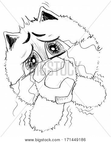 Cat acting pleading and crying Character pencil sketch design black and white.