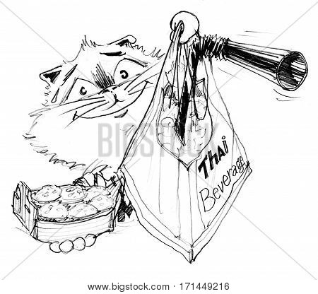 Cat invites you try to eat Kanhom krog and Thai tea Character pencil sketch design black and white.