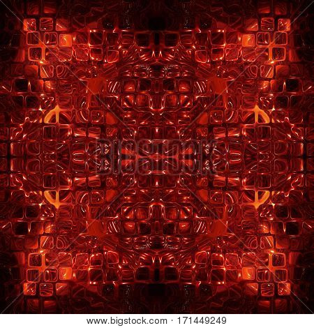 Red cube shape pattern as abstract background. Digitally generated image.