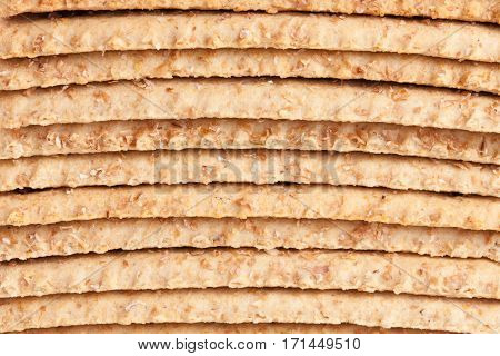 stack of grain crispbreads as a background