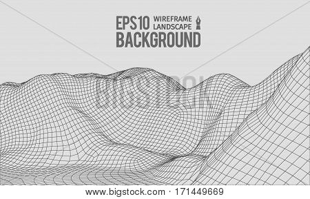3D Wireframe Terrain Wide Angle EPS10 Vector